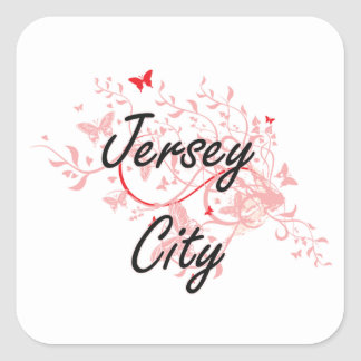 Jersey City New Jersey City Artistic design with b Square Sticker