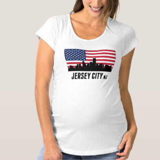 Jersey City NJ American Flag Maternity T-Shirt