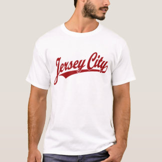 Jersey City script logo in red T-Shirt