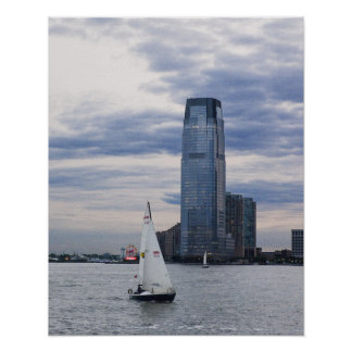 Jersey City Waterfront with Sailboats Poster
