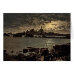 Jersey, Corbiere Lighthouse by moonlight, Channel Greeting Card