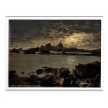 Jersey, Corbiere Lighthouse by moonlight, Channel Postcard