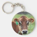 Jersey Cow Basic Round Button Keychain