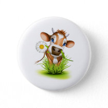 Jersey cow in grass button