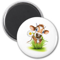 Jersey cow in grass magnet