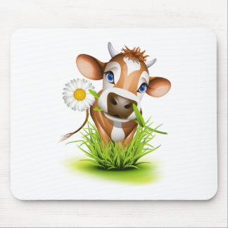 Jersey cow in grass mouse pad