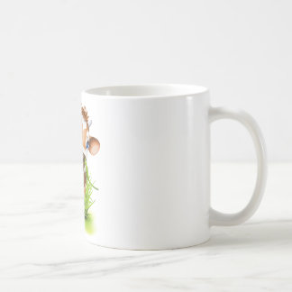 Jersey cow in grass mugs