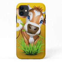 Jersey cow in grass over yellow iPhone 11 case
