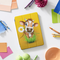 Jersey cow in grass over yellow iPad pro cover