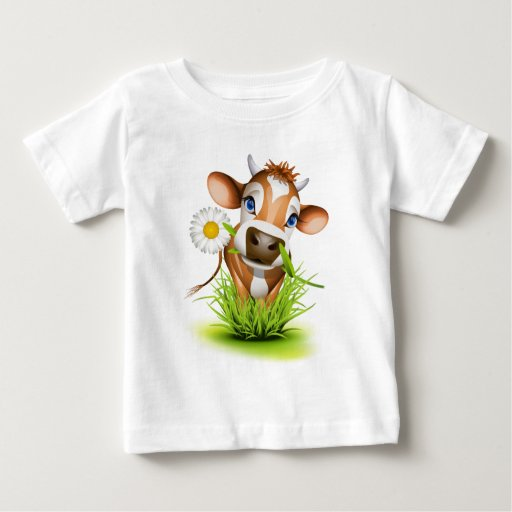Jersey cow in grass tee shirts
