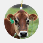 Jersey Cow Double-Sided Ceramic Round Christmas Ornament