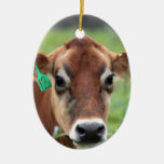 Jersey Cow Double-Sided Oval Ceramic Christmas Ornament
