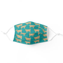Jersey cow turquoise cloth face mask