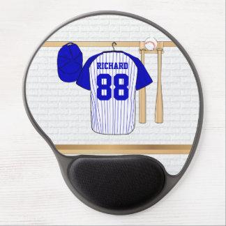 Jersey de béisbol azul y blanco personalizado alfombrilla de raton con gel
