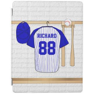 Jersey de béisbol azul y blanco personalizado cover de iPad