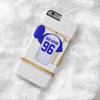Jersey de béisbol azul y blanco personalizado funda de iPhone 6 barely there