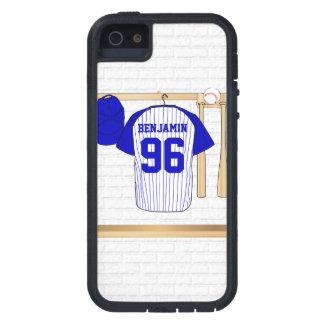 Jersey de béisbol azul y blanco personalizado iPhone 5 carcasas
