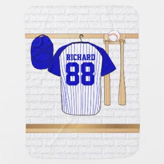 Jersey de béisbol azul y blanco personalizado manta de bebé