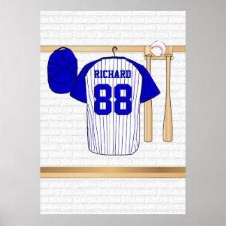 Jersey de béisbol azul y blanco personalizado póster