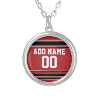 Jersey de equipo con nombre y número de encargo collar plateado