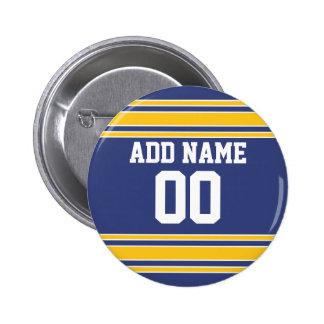 Jersey de equipo con nombre y número de encargo pin redondo de 2 pulgadas