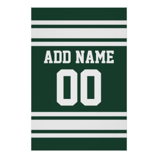 Jersey de equipo con nombre y número de encargo póster