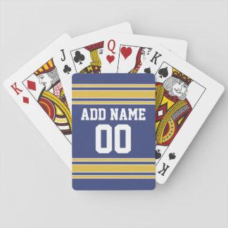 Jersey de equipo de deportes con nombre y número barajas de cartas