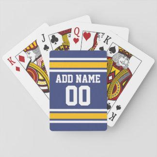 Jersey de equipo de deportes con nombre y número cartas de juego