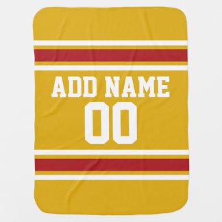 Jersey de equipo de deportes con nombre y número mantita para bebé
