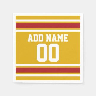 Jersey de equipo de deportes con nombre y número servilleta desechable