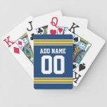 Jersey de equipo de fútbol con nombre y número baraja de cartas