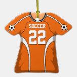 Jersey de fútbol anaranjado/blanco personalizado 2 ornamentos de reyes