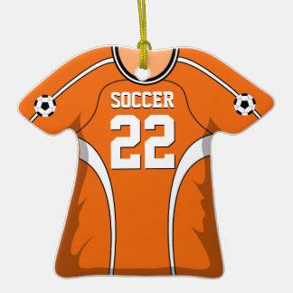 Jersey de fútbol anaranjado/blanco personalizado adorno de cerámica en forma de camiseta