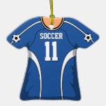 Jersey de fútbol azul/blanco personalizado 11 V1 Ornamentos De Reyes Magos