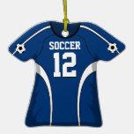 Jersey de fútbol azul marino y blanco adorno de reyes