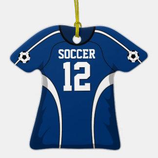 Jersey de fútbol azul marino y blanco adorno de cerámica en forma de camiseta