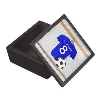 Jersey de fútbol blanco azul personalizado del cajas de joyas de calidad