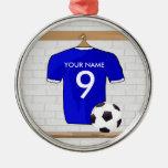 Jersey de fútbol blanco azul personalizado del adornos de navidad
