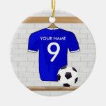 Jersey de fútbol blanco azul personalizado del adorno redondo de cerámica