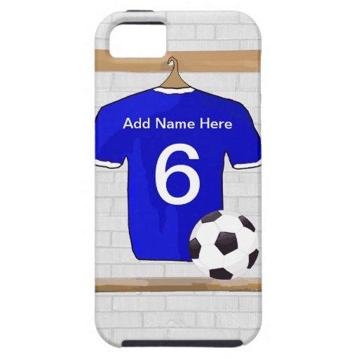 Jersey de fútbol blanco azul personalizado del iPhone 5 carcasas
