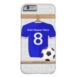Jersey de fútbol blanco azul personalizado del funda para iPhone 6 barely there