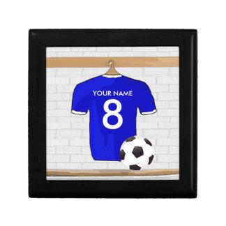 Jersey de fútbol blanco azul personalizado del joyero cuadrado pequeño