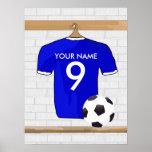 Jersey de fútbol blanco azul personalizado del póster