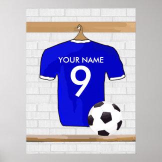 Jersey de fútbol blanco azul personalizado del impresiones