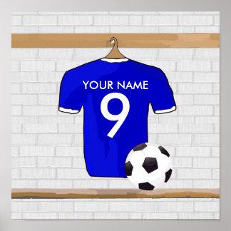 Jersey de fútbol blanco azul personalizado del posters