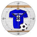Jersey de fútbol blanco azul personalizado del reloj redondo grande