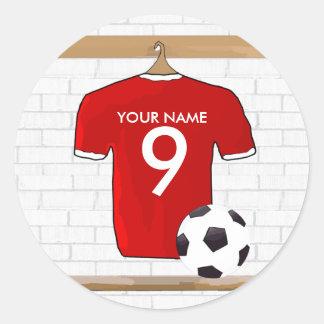 Jersey de fútbol blanco rojo personalizado del pegatina redonda