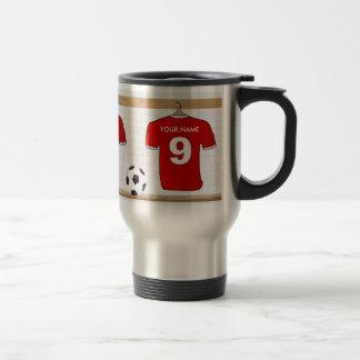 Jersey de fútbol blanco rojo personalizado del taza