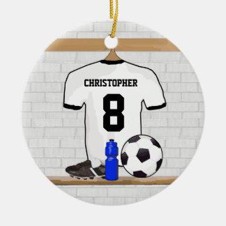 Jersey de fútbol negro blanco personalizado del adorno navideño redondo de cerámica