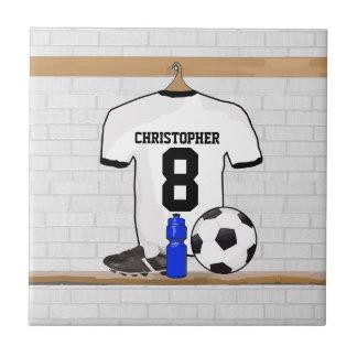 Jersey de fútbol negro blanco personalizado del azulejo cuadrado pequeño
